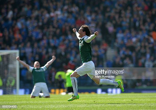 Liam Henderson of Hibernian celebrates at the final whistle as Hibernian beat Rangers 32 during the William Hill Scottish Cup Final between Rangers...