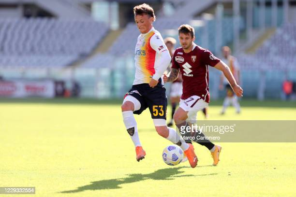 Liam Henderson of Us Lecce in action during the Coppa Italia match between Torino Fc and Us Lecce. Torino Fc wins 3-1 over Us Lecce.