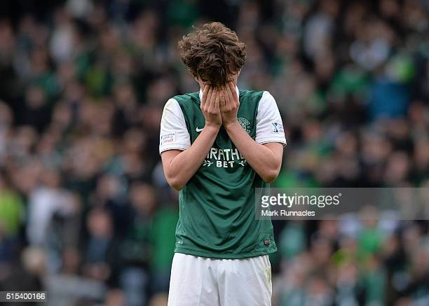 Liam Henderson reacts at the final whistle as Ross County beat Hibernian 2-1 during the Scottish League Cup Final between Hibernian FC and Ross...