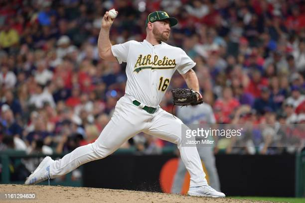 Liam Hendriks of the Oakland Athletics during the 2019 MLB AllStar Game at Progressive Field on July 09 2019 in Cleveland Ohio