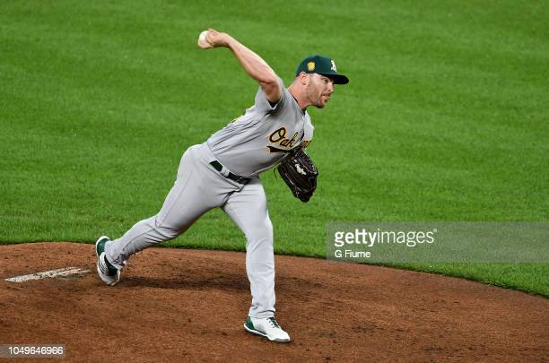 Liam Hendriks of the Oakland Athletics pitches against the Baltimore Orioles at Oriole Park at Camden Yards on September 12 2018 in Baltimore Maryland