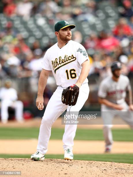 Liam Hendriks of the Oakland Athletics pitches against the Boston Red Sox at OaklandAlameda County Coliseum on April 04 2019 in Oakland California