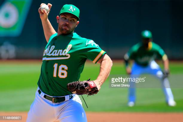 Liam Hendriks of the Oakland Athletics pitches during the first inning against the Cleveland Indians at OaklandAlameda County Coliseum on May 11 2019...