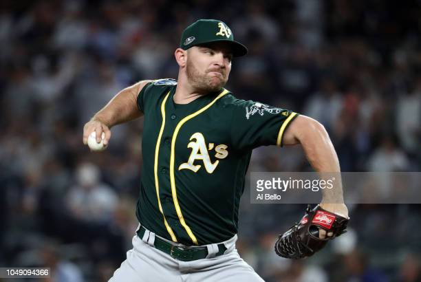 Liam Hendriks of the Oakland Athletics pitches in the first inning against the New York Yankees during the American League Wild Card Game at Yankee...