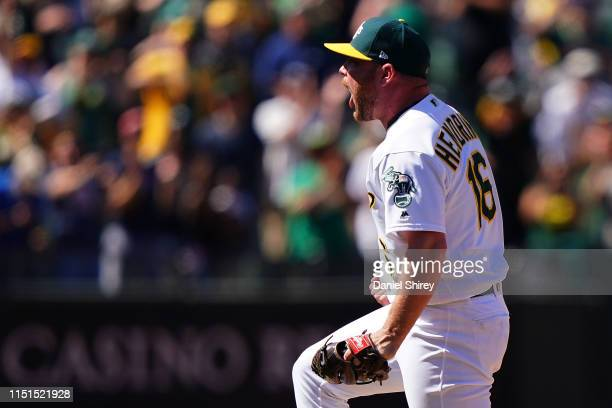 Liam Hendriks of the Oakland Athletics reacts to getting the save and beating the Tampa Bay Rays at OaklandAlameda County Coliseum on June 22 2019 in...
