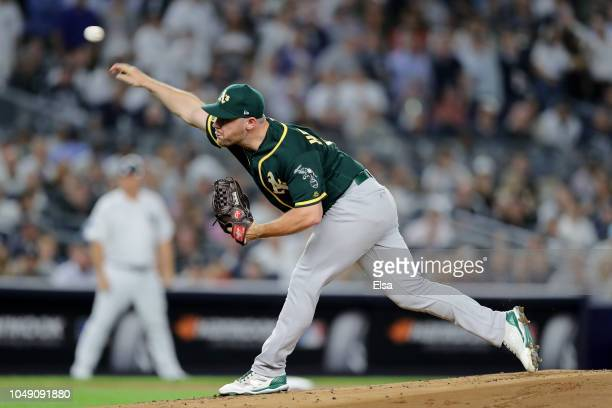 Liam Hendriks of the Oakland Athletics throws a pitch against the New York Yankees during the first inning in the American League Wild Card Game at...