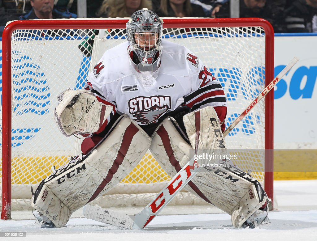Liam Herbst #29 of the Guelph Storm gets set to face a shot against the London Knights during an OHL game at Budweiser Gardens on March 9, 2017 in London, Ontario, Canada. The Knights defeated the Storm 8-2.