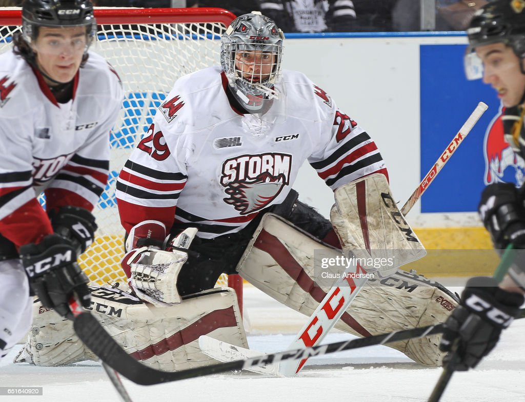 Liam Herbst #29 of the Guelph Storm keeps an eye open for a shot against the London Knights during an OHL game at Budweiser Gardens on March 9, 2017 in London, Ontario, Canada. The Knights defeated the Storm 8-2.