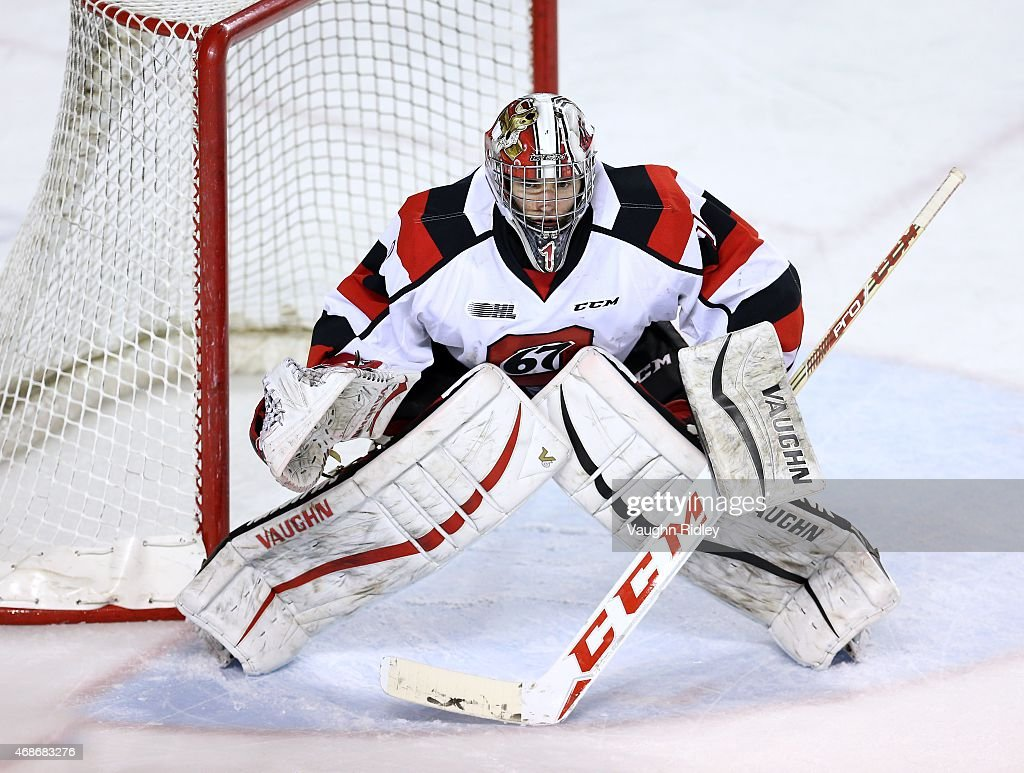 Liam Herbst #1 of the Ottawa 67's keeps his eye on the puck during Game 6 of the Eastern Conference Quarter-Finals against the Niagara IceDogs at the Meridian Centre on April 5, 2015 in St Catharines, Ontario, Canada.