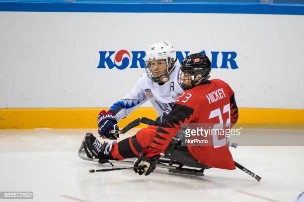 Liam HICKEY and Declan FARMER during The Ice Hockey gold medal game between Canada and United States during day nine of the PyeongChang 2018...