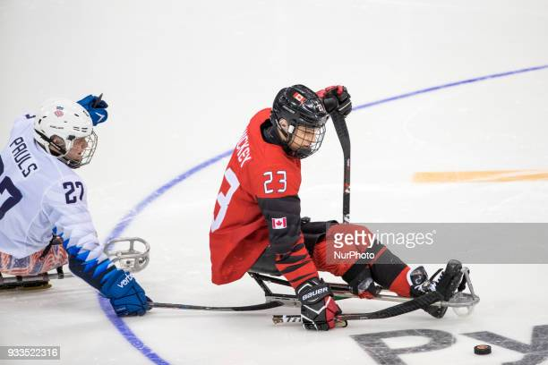 Liam HICKEY and Josh PAULS during The Ice Hockey gold medal game between Canada and United States during day nine of the PyeongChang 2018 Paralympic...