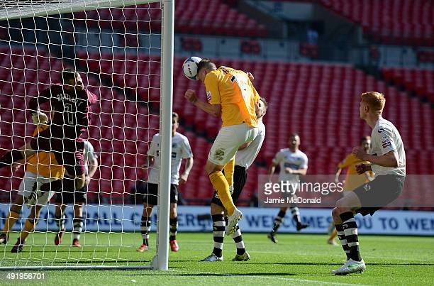 Liam Hughes of Cambridge United scores a goal during the Skrill Conference Premier PlayOffs Final between Cambridge United and Gateshead FC at...