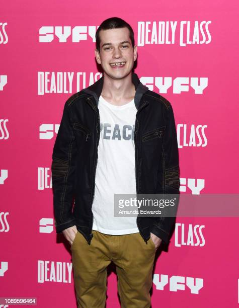 """Liam James arrives at SYFY's new series """"Deadly Class"""" premiere screening at The Roxy Theatre on January 03, 2019 in West Hollywood, California."""