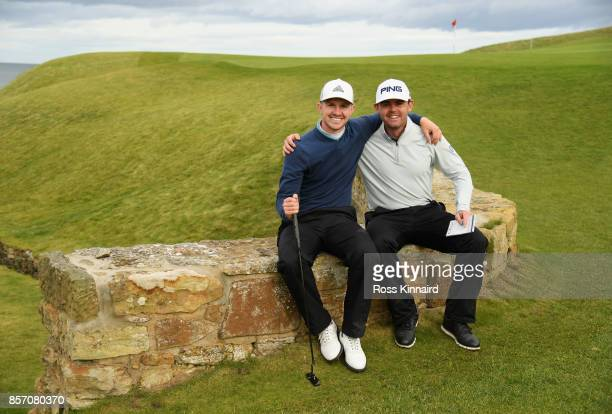 Liam Johnston and Connor Syme of Scotland pose for a photo during practice prior to the 2017 Alfred Dunhill Links Championship at Kingsbarns on...