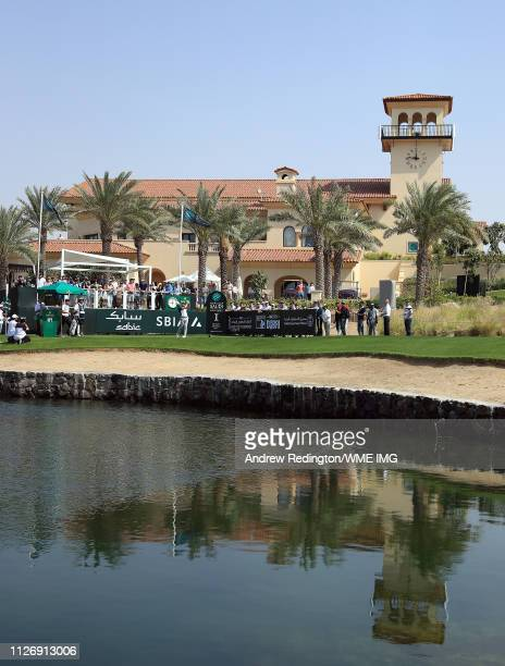 Liam Johnston of Scotland tees off on the first hole on Day Three of the Saudi International at Royal Greens Golf and Country Club on February 02...