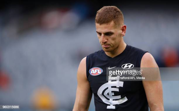 Liam Jones of the Blues looks dejected after a loss during the 2018 AFL round nine match between the Carlton Blues and the Melbourne Demons at the...