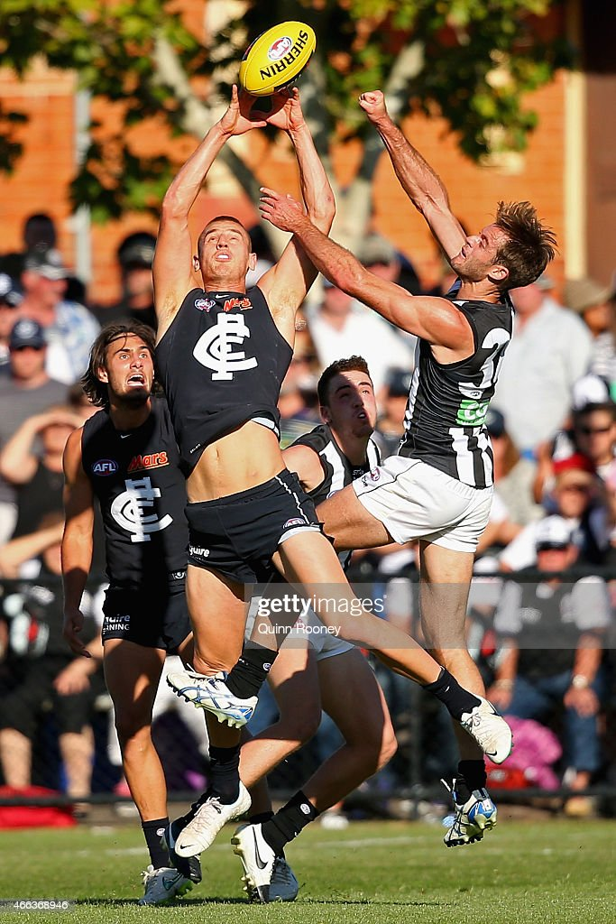 Liam Jones of the Blues marks during the NAB Challenge AFL match between the Collingwood Magpies and the Carlton Blues at Queen Elizabeth Oval on March 15, 2015 in Bendigo, Australia.