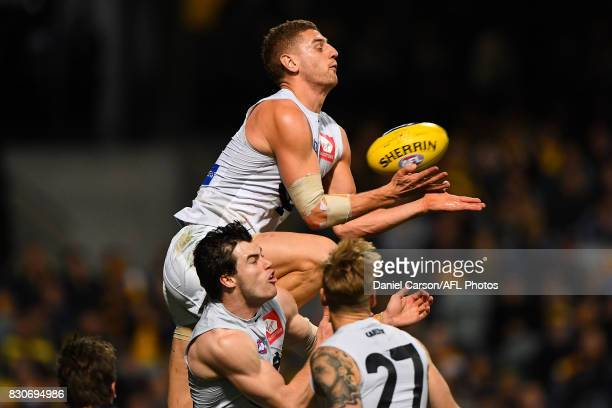 Liam Jones of the Blues rises for an attempted mark during the 2017 AFL round 21 match between the West Coast Eagles and the Carlton Blues at Domain...