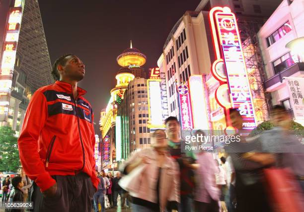 Liam Jurrah of the Demons poses in downtown Shanghai on October 17 2010 in Shanghai China The AFL Kaspersky Cup Shanghai Showdown was played today...