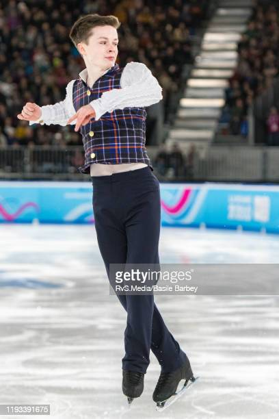 Liam Kapeikis of United States in action during Men Single Skating Free Skating of the Lausanne 2020 Winter Youth Olympics at Skating Arena on...