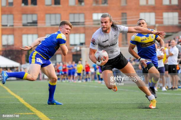 Liam Kay of Toronto Wolfpack in action during Super 8s Round 7 game between Toronto Wolfpack vs Doncaster RLFC at Allan A Lamport Stadium in Toronto...