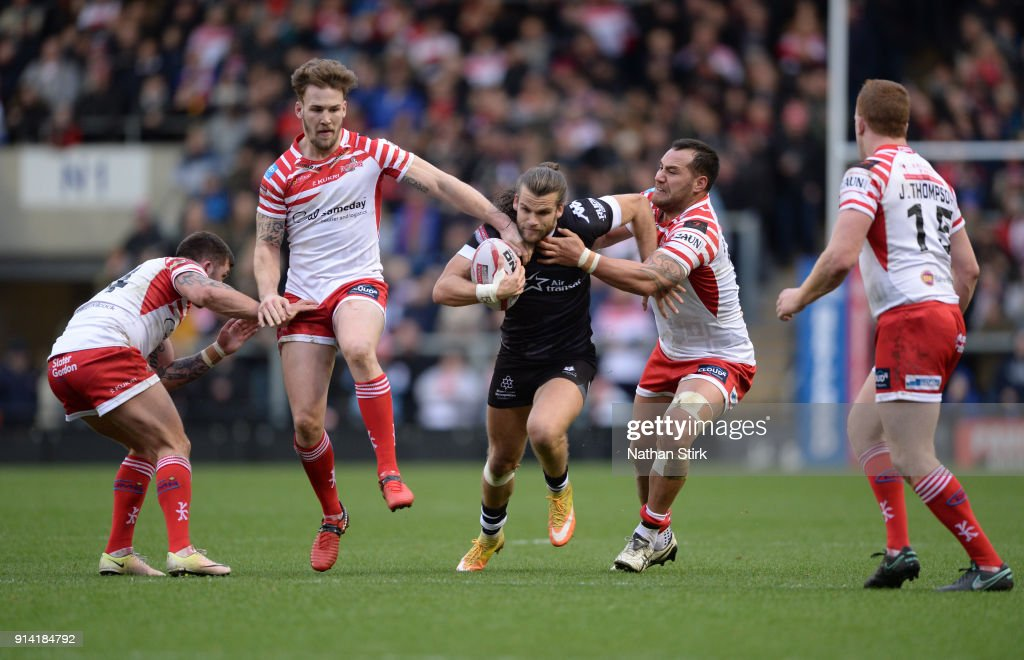 Liam Kay of Toronto Wolfpack in action during the Betfred Championship match between Leigh Centurions and Toronto Wolfpack on February 4, 2018 in Leigh, Greater Manchester.