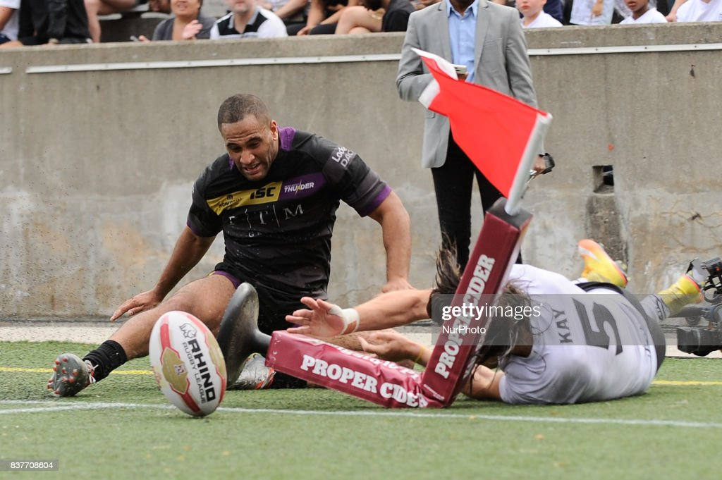 Liam Kay of Toronto Wolfpack scored a tries during Super 8s Round 4 game between Toronto Wolfpack (Canada) vs Newcastle Thunder (United Kingdom) at Allan A. Lamport Stadium in Toronto, Canada. August 19, 2017.