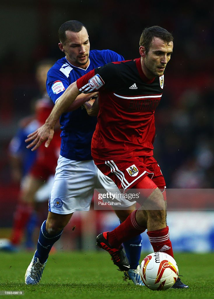 Liam Kelly of Bristol City battles for the ball with Danny Drinkwater of Leicester City during the npower Championship match between Bristol City and Leicester City at Ashton Gate on January 12, 2013 in Bristol, England.