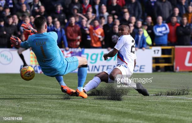 Liam Kelly of Livingston saves from Alfredo Morelos of Rangers during the Ladbrokes Premiership match between Livingston and Rangers at Livingston on...