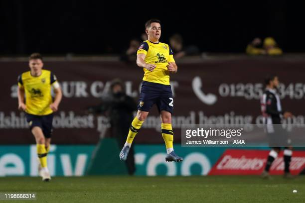 Liam Kelly of Oxford United celebrates after scoring a goal to make it 1-2 during the FA Cup Fourth Round Replay match between Oxford United and...