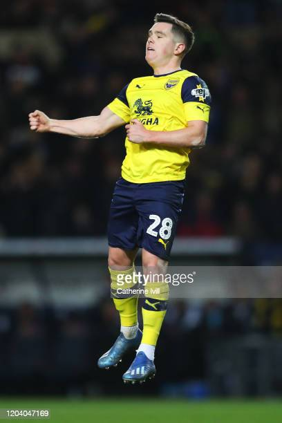 Liam Kelly of Oxford United celebrates after scoring his team's first goal during the FA Cup Fourth Round Replay match between Oxford United and...