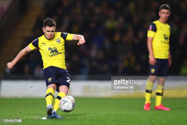 Liam Kelly of Oxford United scores his team's first goal during the FA Cup Fourth Round Replay match between Oxford United and Newcastle United at...