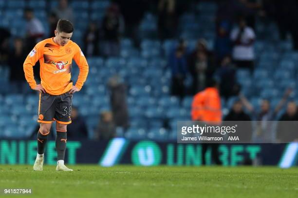 Liam Kelly of Reading dejected at full time during the Sky Bet Championship match between Aston Villa and Reading at Villa Park on April 2 2018 in...