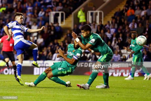 Liam Kelly of Reading shoots during the Carabao Cup Second Round match between Reading and Watford at Madejski Stadium on August 29 2018 in Reading...