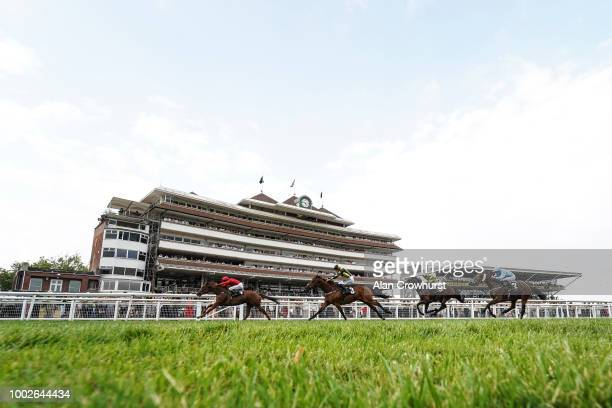 Liam Keniry riding Majboor win The R M Electrical Group Handicap Stakes at Newbury Racecourse on July 20 2018 in Newbury United Kingdom