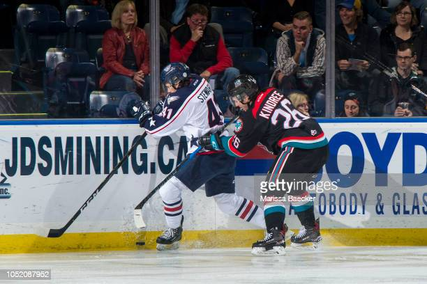 Liam Kindree of the Kelowna Rockets back checks Samuel Stewart of the TriCity Americans during first period at Prospera Place on October 13 2018 in...