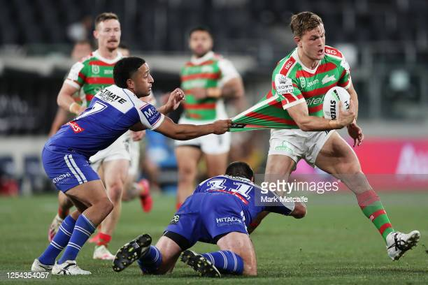 Liam Knight of the Rabbitohs is tackled during the round eight NRL match between the Canterbury Bulldogs and the South Sydney Rabbitohs at Bankwest...