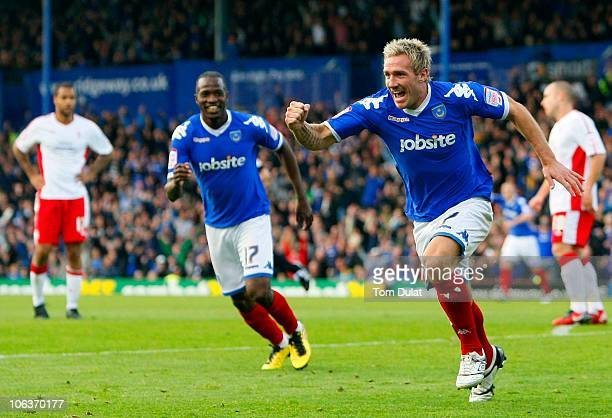 Liam Lawrence of Portsmouth celebrates his goal during the npower Championship match between Portsmouth and Nottingham Forest at Fratton Park on...