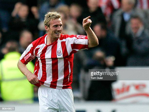 Liam Lawrence of Stoke City celebrates his goal during the Coca Cola Championship match between Coventry City v Stoke City at the Ricoh Arena on...