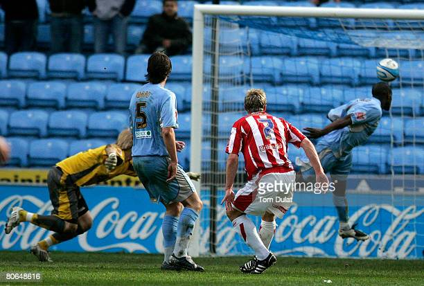 Liam Lawrence of Stoke City scores his sides second goal during the Coca Cola Championship match between Coventry City v Stoke City at the Ricoh...