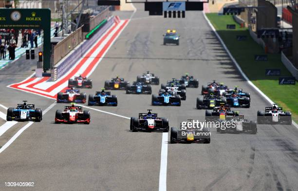 Liam Lawson of New Zealand and Hitech Grand Prix drives leads the field into turn one at the start during Sprint Race 1 of Round 1:Sakhir of the...