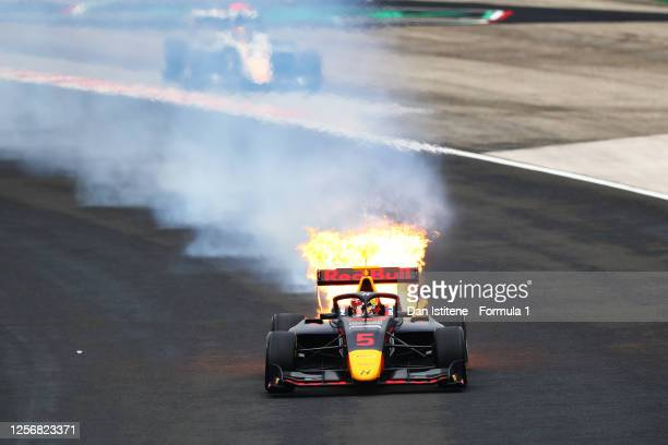 Liam Lawson of New Zealand and Hitech Grand Prix drives while on fire during race one of the the Formula 3 Championship at Hungaroring on July 18,...