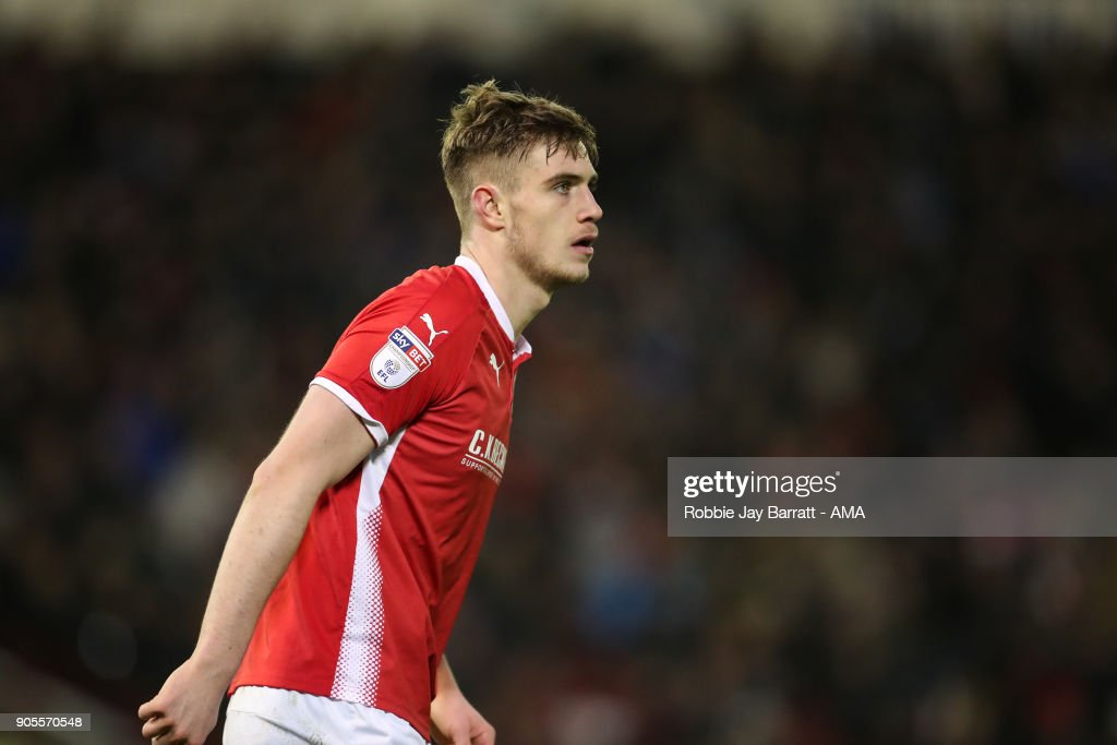 Liam Lindsay of Barnsley during the Sky Bet Championship match between Barnsley and Wolverhampton at Oakwell Stadium on January 13, 2018 in Barnsley, England.