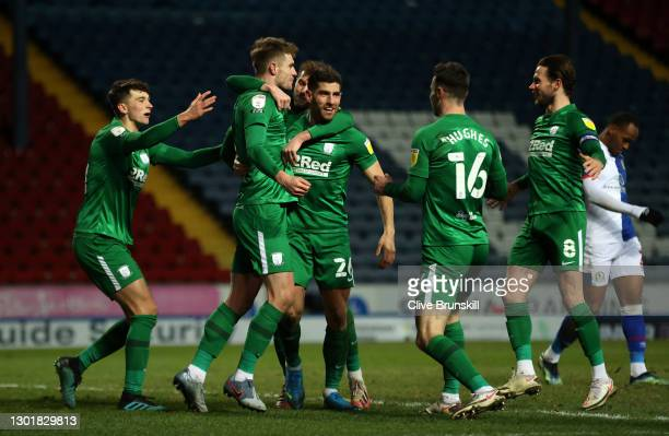 Liam Lindsay of Preston North End celebrates scoring the 2nd Preston goal with team mates during the Sky Bet Championship match between Blackburn...