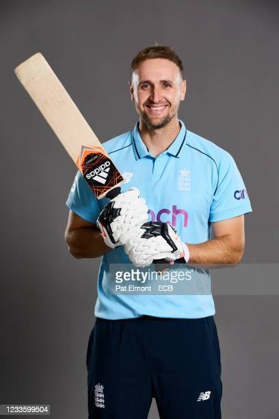 Liam Livingston of England poses during a portrait session at Sophia Gardens on June 20, 2021 in Cardiff, Wales.
