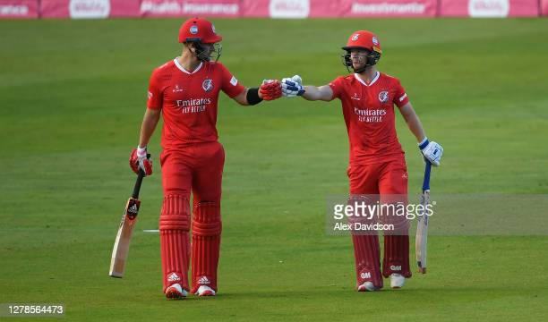 Liam Livingstone and Alex Davies of Lancashire take to the field during the Vitality T20 Blast Semi Final between Notts Outlaws and Lancashire...