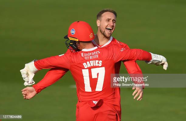 Liam Livingstone celebrates with Alex Davies of Lancashire after the dismissal of Tyman Mills as Lancashire won the Vitality Blast T20 Quarter Final...