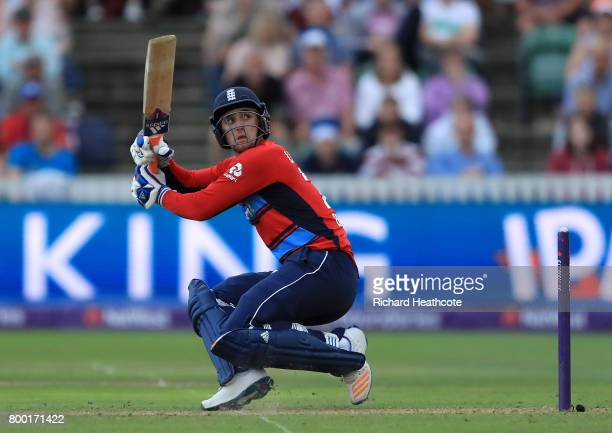 Liam Livingstone of England bats during the 2nd NatWest T20 International match between England and South Africa at The Cooper Associates County...