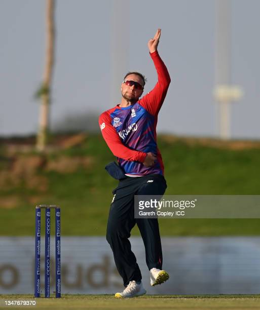 Liam Livingstone of England bowls during the England and New Zealand warm Up Match prior to the ICC Men's T20 World Cup at on October 20, 2021 in Abu...
