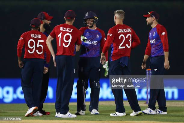 Liam Livingstone of England celebrates the wicket of Virat Kohli of India during the India and England warm Up Match prior to the ICC Men's T20 World...
